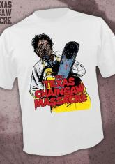 TEXAS CHAINSAW MASSACRE - LEATHERFACE (WHITE) [GUYS SHIRT]